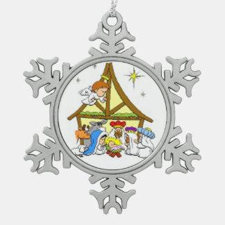 Zinn-Schneeflocke-Verzierung/Geburt Christi Schneeflocken Zinn-Ornament