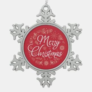 Zinn-Schneeflocke-Verzierung mit Weihnachtsentwurf Schneeflocken Zinn-Ornament