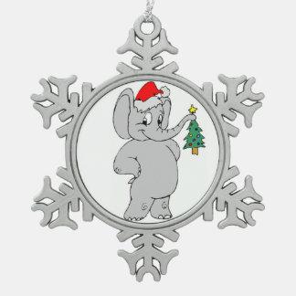Zinn-Schneeflocke-Verzierung/Sankt-Elefant Schneeflocken Zinn-Ornament