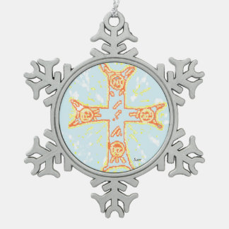 Zinn-Schneeflocke-Verzierungs-/Greek-Kreuz Schneeflocken Zinn-Ornament