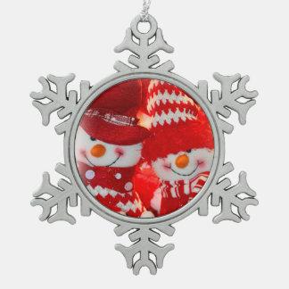 Zinn-Schneeflocke-Verzierungs-/Schneemann-Paare Schneeflocken Zinn-Ornament