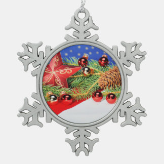 Zinn Schneeflocken Ornament mit Weihnachts Motiv