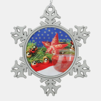 Zinn Schneeflocken Ornament Weihnacht
