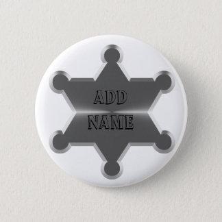 Zinn-Stern-Sheriff Runder Button 5,1 Cm