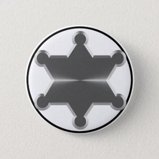 Zinn-Stern-Sheriff Runder Button 5,7 Cm