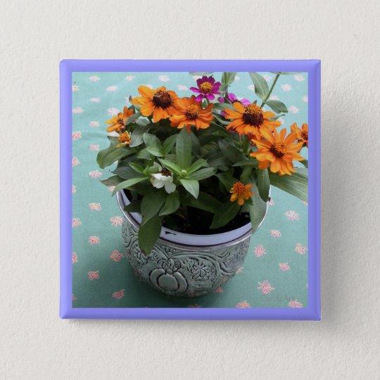Zinn-Topf-Gänseblümchen Quadratischer Button 5,1 Cm