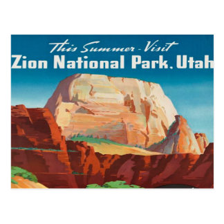 zion Vintage Reise Nationalpark-Utah-Ferien Postkarte