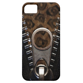 Zippered Leopard-Druck-Pelz Etui Fürs iPhone 5