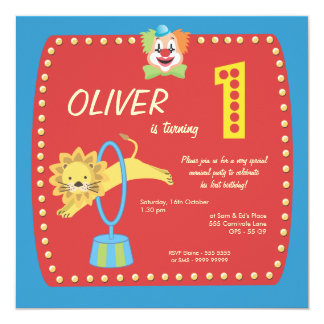Zirkus-Karnevals-Clown-erstes (1.) Quadratische 13,3 Cm Einladungskarte