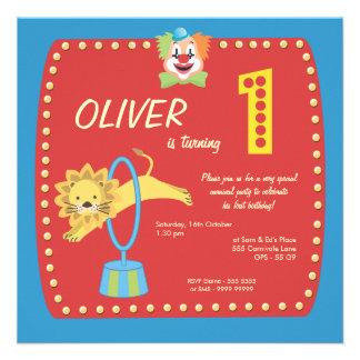 Zirkus-Karnevals-Clown-erstes 1 Geburtstags-Par Einladungskarten