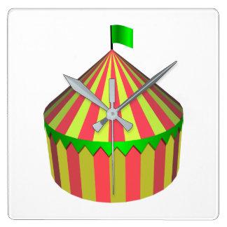 Zirkus Quadratische Wanduhr