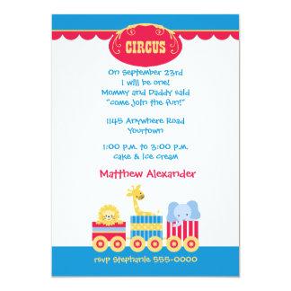 Zirkus-Zug-erste Geburtstags-Einladung 12,7 X 17,8 Cm Einladungskarte