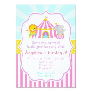 Zirkuszelt-Zirkus-Karnevals-Geburtstag im Rosa 12,7 X 17,8 Cm Einladungskarte