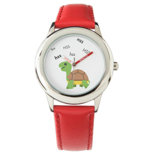 Zischen-Schildkröte niedliches Emoji Uhr