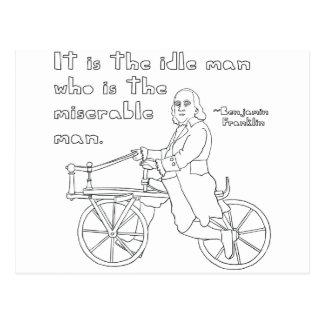 Zitat Bens Franklin auf Fahrrad Postkarte