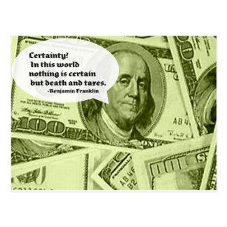 Zitat Bens Franklin Sicherheit in dieser Welt Postkarte