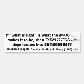 Zitat-Demokratie u. Demagogie Friedrich Hayek Autoaufkleber