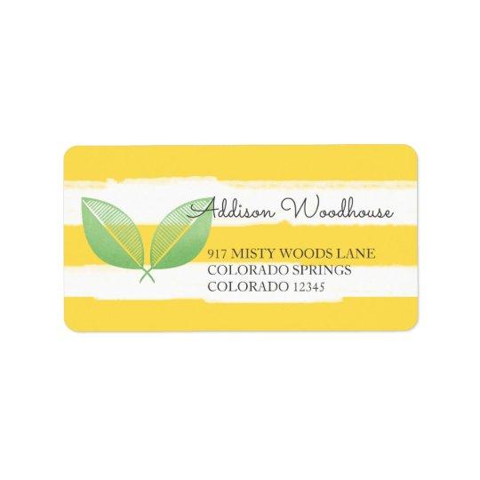 Zitrone verlässt gelb u. grünt personalisiertes | adressaufkleber