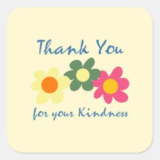 ZitroneChiffon danken Ihnen Blumen-Aufkleber Quadratischer Aufkleber