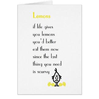 Zitronen - ein lustiges erhalten wohles Gedicht Karte