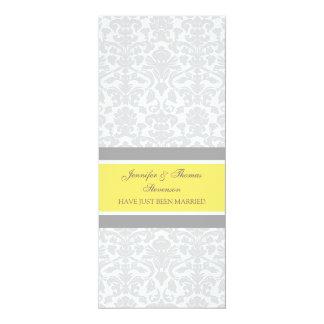 Zitronen-graue Damast-gerade verheiratete 10,2 X 23,5 Cm Einladungskarte