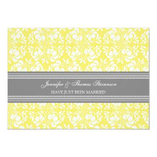 Zitronen-graue Damast-gerade verheiratete 12,7 X 17,8 Cm Einladungskarte