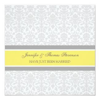 Zitronen-graue Damast-gerade verheiratete Quadratische 13,3 Cm Einladungskarte