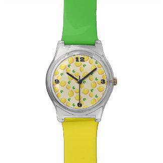 Zitronen-Muster-mehrfarbige Band-Uhr Armbanduhr