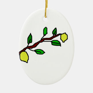 Zitronenzweig Ovales Keramik Ornament