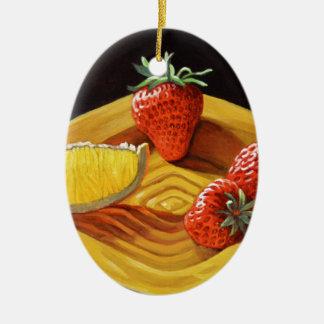 Zitrusfrucht-saftige Erdbeerorange Ovales Keramik Ornament