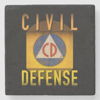 Ziviles Verteidigungs-Symbol-Retro Steinuntersetzer