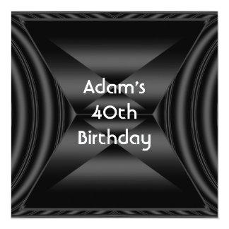 Zizzago elegantes 40. Geburtstags-Party-Schwarzes Quadratische 13,3 Cm Einladungskarte