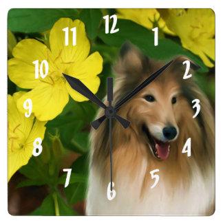 Zobel-Collie-Hundekunst Quadratische Wanduhr