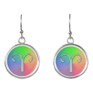 Zodiac Sign Aries Rainbow Astrology Earrings Ohrringe
