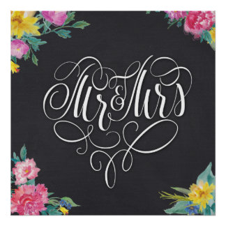 Zoll des Mr&Mrs Hochzeits-Plakats 24x24 Poster
