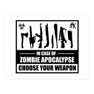 Zombie-Apokalypse wählen Ihre Waffe Postkarte