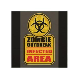 Zombie-Ausbruch angestecktes Bereichs-Zeichen Holzwanddeko