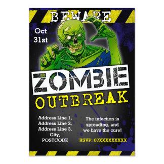 Zombie-Ausbruch-Halloween-Party laden Gewohnheit Karte