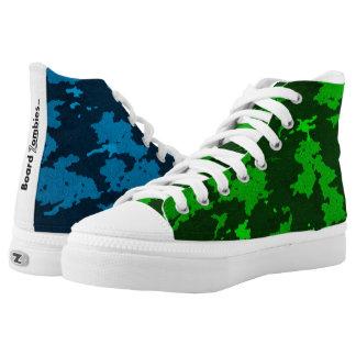 Zombie-blaue und grüne Tarnung HighTops Hoch-geschnittene Sneaker