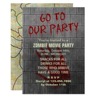 Zombie-Film-Party-untote Apokalypse-blutige Wand Karte