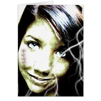 Zombie-Mädchen-Beleuchtungs-Bolzen-Haar und Karte