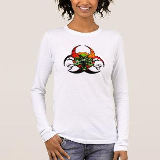 Zombie-Totenkopf mit gekreuzter Knochen Langarm T-Shirt