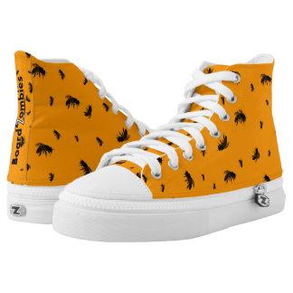 Zombie Zom Bienen-Muster-orange hohe Spitzen Hoch-geschnittene Sneaker