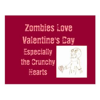 Zombie-Zombie-Postkarte für Valentinstag Postkarte