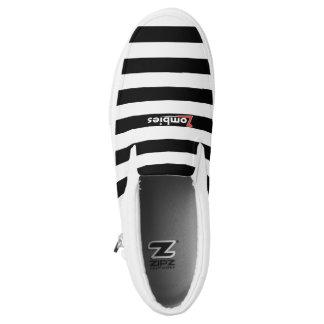 Zombiepunky-weißer Streifen-niedrige Spitzen durch Slip-On Sneaker