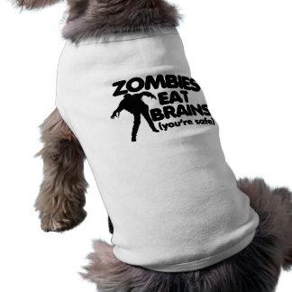 Zombies essen GEHIRNE (Sie sind sicher) Ärmelfreies Hunde-Shirt