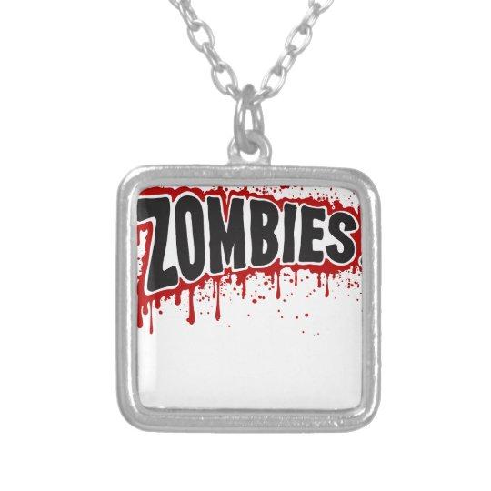 Zombies hassen Schnellimbiß Halskette Mit Quadratischem Anhänger