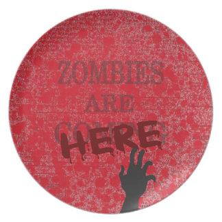 Zombies sind hier Blut Splattered Zeitung Essteller