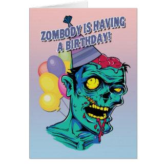 Zombody hat eine Geburtstags-Zombie-Karte mit Ball Grußkarte