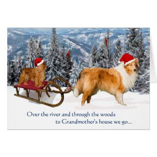 Zu das Haus-dem Weihnachten der Großmutter Grußkarte